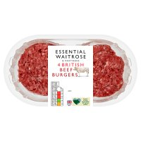 essential Waitrose 4 British beef burgers