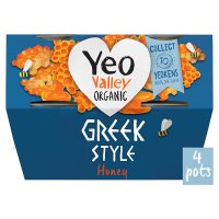 Yeo Valley 4 organic Greek style with honey yogurts