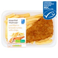 essential Waitrose MSC breaded line caught cod fillet with chunky chips