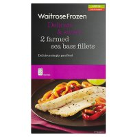 Waitrose Frozen 2 farmed sea bass fillets