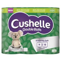 Cushelle Double Roll Toilet Rolls, white - 9 rolls