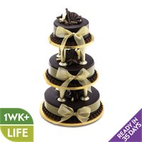 Chocolate Wedding Cake - Gold - 3 Tier