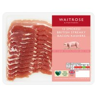 Waitrose smoked British streaky bacon, 12 rashers
