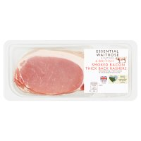 essential Waitrose smoked British thick cut back bacon, 6 rashers