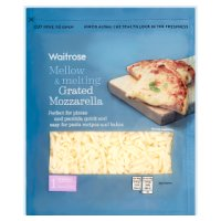 Waitrose extra mild grated mozzarella cheese, strength 1