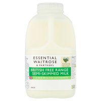 essential Waitrose semi-skimmed milk 1.7% fat 1 pint