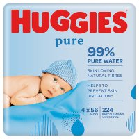 Huggies Pure Baby Wipes, Quad Pack 4x64's