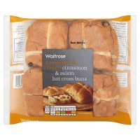 Waitrose cinnamon & raisin hot cross buns