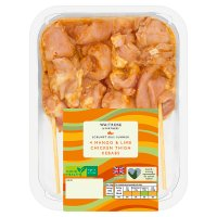 Waitrose 4 sweet mango chicken thigh kebabs