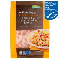 Waitrose Frozen MSC wild caught cooked & peeled large Canadian prawns