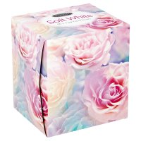 Soft white facial tissues