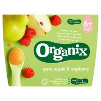 Organix 4 organic pear, apple and raspberry purees - stage 1
