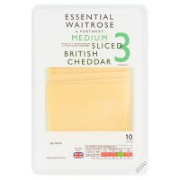 essential Waitrose English medium Cheddar cheese, strength 3, 10 slices