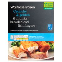 Waitrose MSC frozen 6 line caught chunky breaded cod fingers