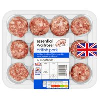 essential Waitrose 12 British pork meatballs