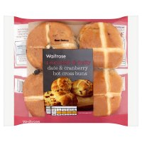 Waitrose date & cranberry hot cross buns