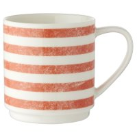 Waitrose Coral Stripe Stacker Mug