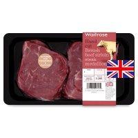 Waitrose 2 British beef hand cut sirloin steak medallions.