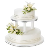Ivory Lily & Rose Sugar Flower Wedding Cake - Fruit - 2 Tier