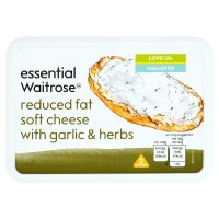 essential Waitrose reduced fat soft cheese with garlic & herbs