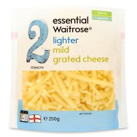 essential Waitrose lighter mild grated cheese, strength 2