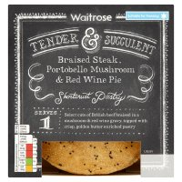 Waitrose braised steak, portobello mushroom & red wine pie