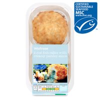 Waitrose MSC cod fish cakes with parsley sauce  x2