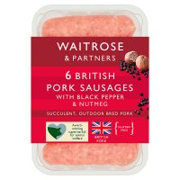 Waitrose 6 British gourmet pork sausages with black pepper & nutmeg