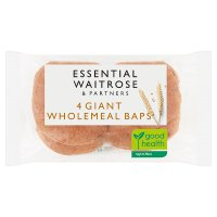 essential Waitrose 4 wholemeal giant baps