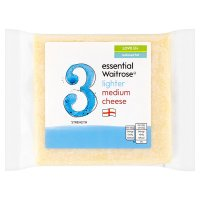essential Waitrose lighter medium cheese, strength 3