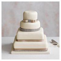 Diamante 4 Tier Ivory Wedding Cake  Chocolate (all tiers)