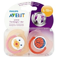 Philips Avent 6-18month animal soother, pack of 2