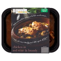 menu from Waitrose rich chicken in red wine & brandy