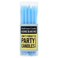 Waitrose Cooks' Homebaking blue party candles & holders