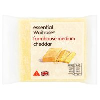 essential Waitrose farmhouse medium Cheddar cheese, strength 3