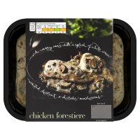 menu from Waitrose Rich, creamy chicken forestiere