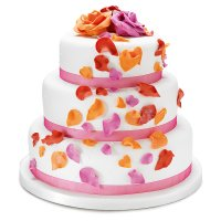 Fiona Cairns Flame Rose Petal 3-tier Wedding Cake (Mixed Filling)