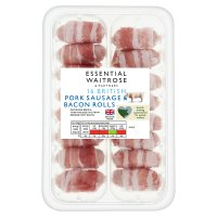 essential Waitrose 16 British Outdoor Bred pork sausages wrapped in bacon