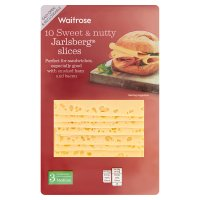 Waitrose medium Jarlsberg cheese, strength 3, 10 slices