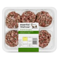 essential Waitrose 6 British lamb burgers