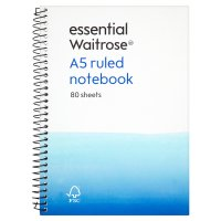 essential Waitrose A5 ruled notebook, pack of 80 sheets