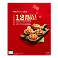 Waitrose 12 frozen mini three cheese pizzas