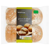 Waitrose green & black olive rolls
