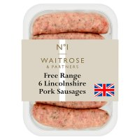 Waitrose 1 British free range Lincolnshire pork sausages 6s