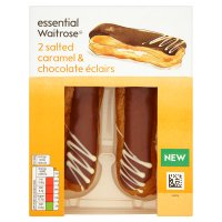 essential Waitrose salted caramel & chocolate éclairs