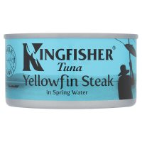 Kingfisher pole & line yellowfin tuna steak in water