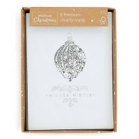 Waitrose Silver Metalic Bauble Cards