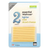 essential Waitrose lighter mild cheese, strength 2, 10 slices