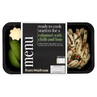 menu from Waitrose calamari with chilli & lime