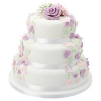 Fiona Cairns Pastel Rose Petal 3-tier Wedding Cake (Mixed Filling)